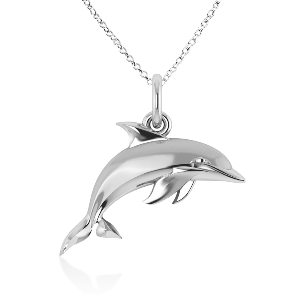 Dolphin Pendant Necklace 14k White Gold