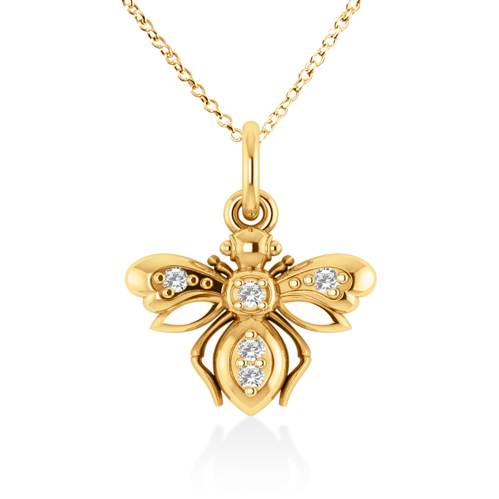 Diamond Bee Pendant Necklace 14k Yellow Gold (0.10ct)