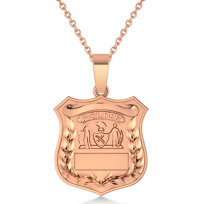 Police Department Badge Pendant Necklace 14k Rose Gold