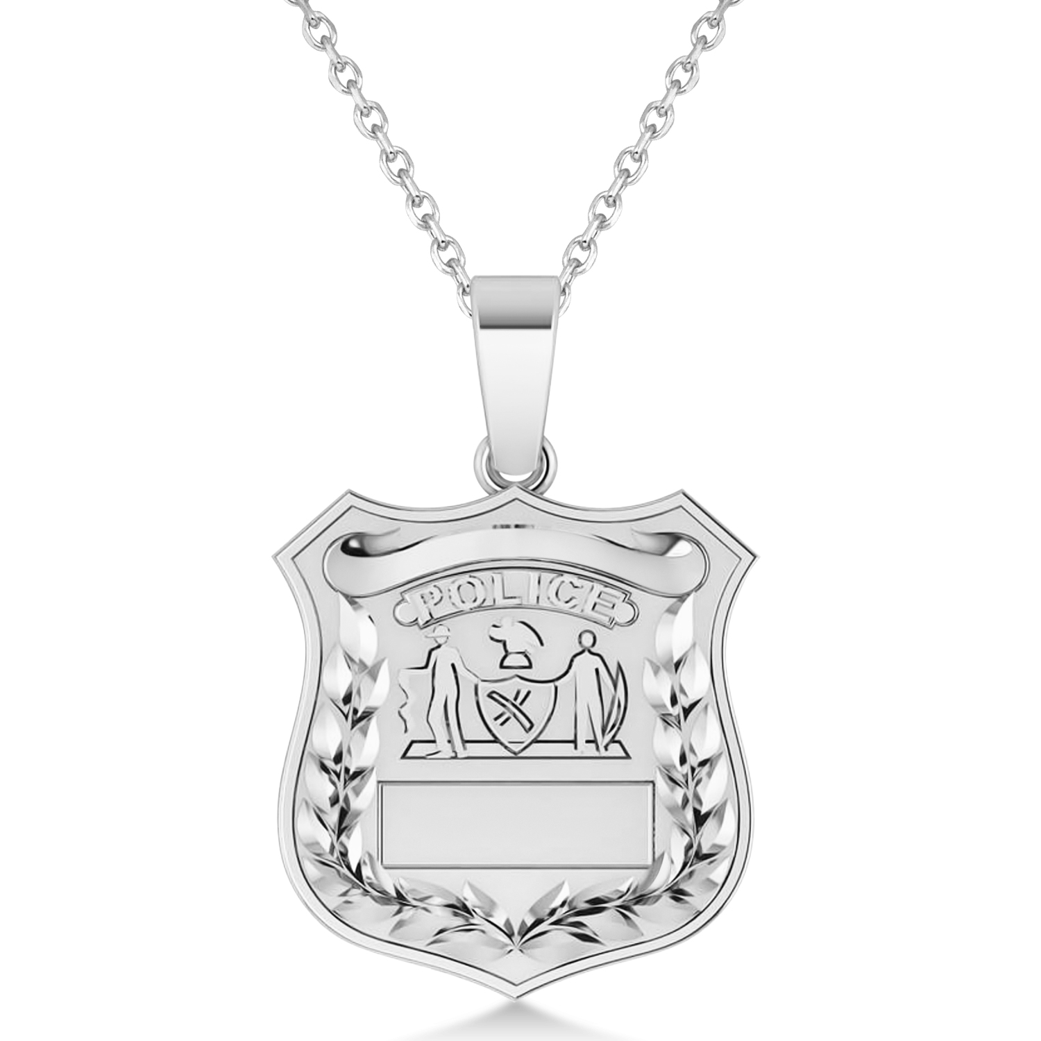 Police Department Badge Pendant Necklace 14k White Gold