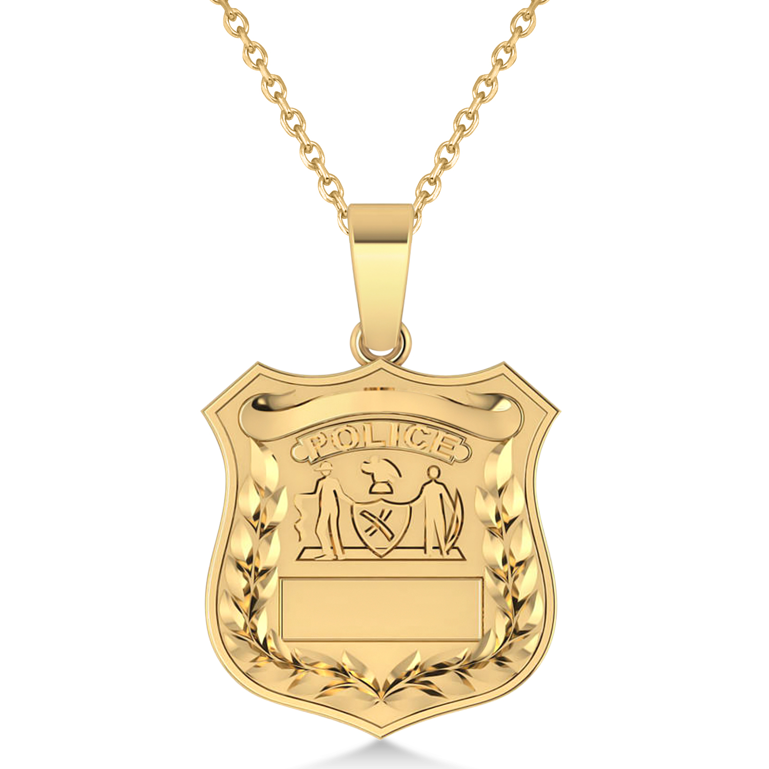 Police Department Badge Pendant Necklace 14k Yellow Gold