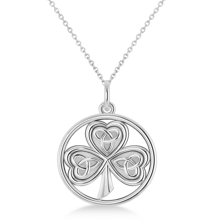 Enclosed Celtic Knot Three-Leaf Clover Pendant 14k White Gold
