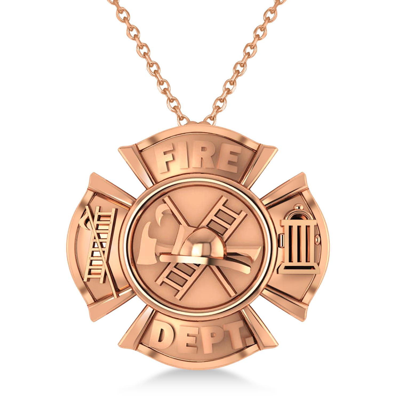Fire Department Badge Pendant Necklace 14k Rose Gold