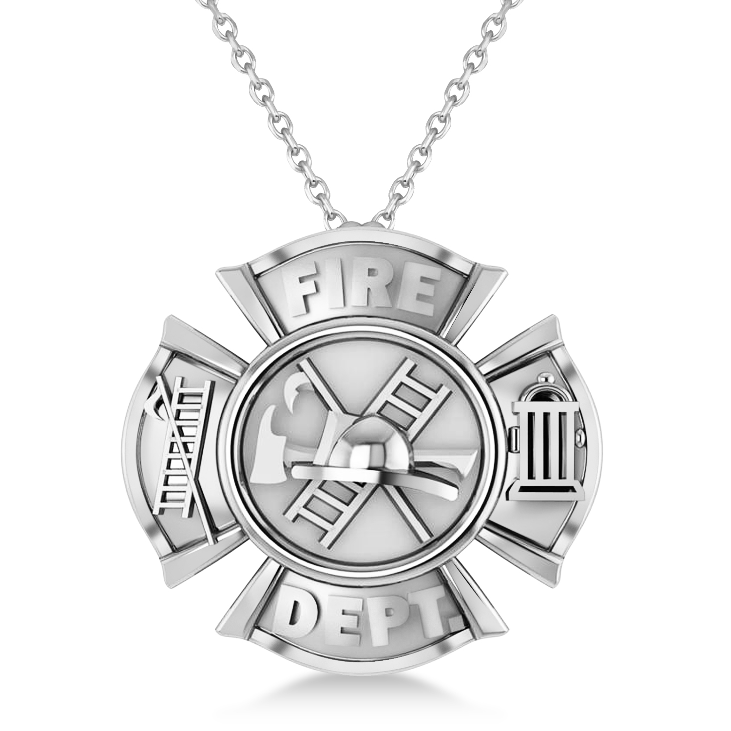 Fire Department Badge Pendant Necklace 14k White Gold