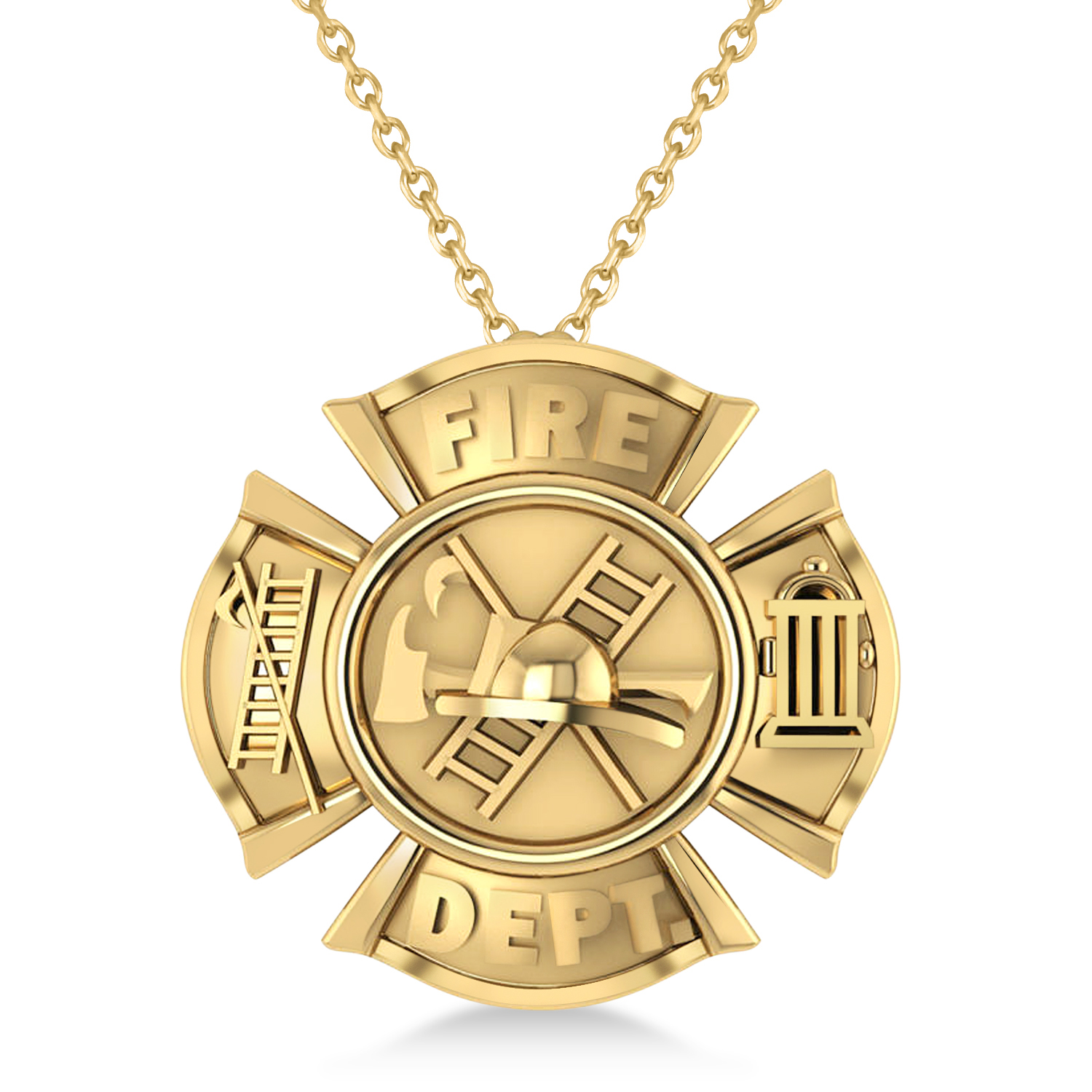 Fire Department Badge Pendant Necklace 14k Yellow Gold