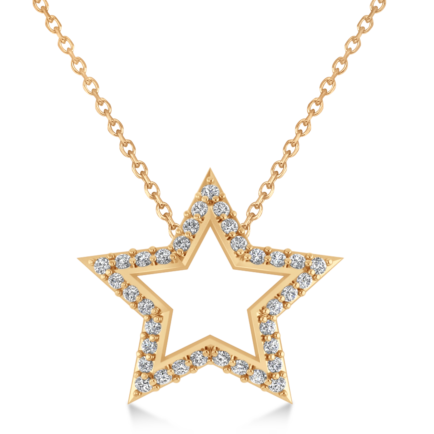 Galaxy Star Diamond Accented Pendant 14k Rose Gold (0.35ct)