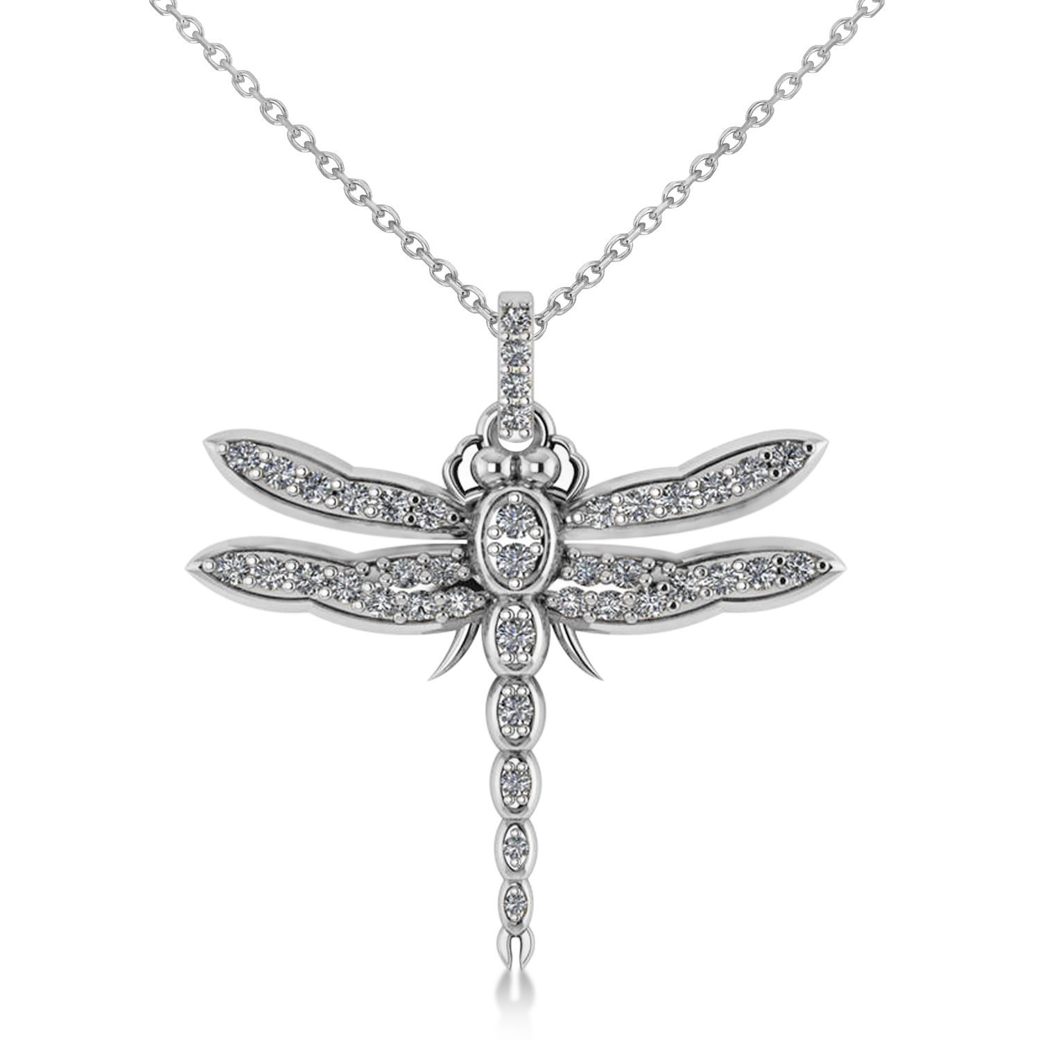 76dc54ef2 Dragonfly Insect Diamond Pendant Necklace 14k White Gold 0.59ct - IN951