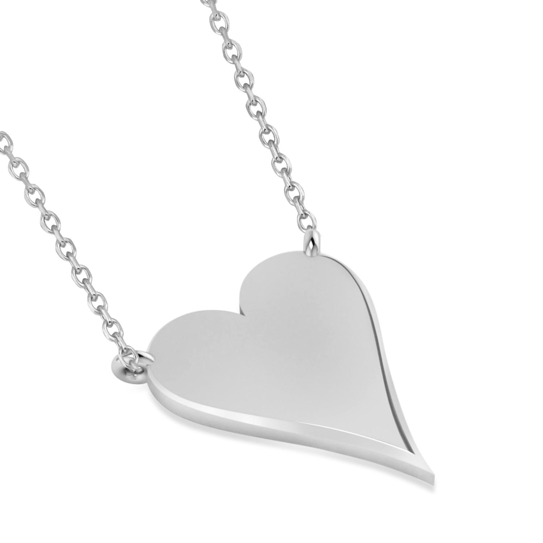 Geometric Heart-Shape Pendant Necklace 14k White Gold