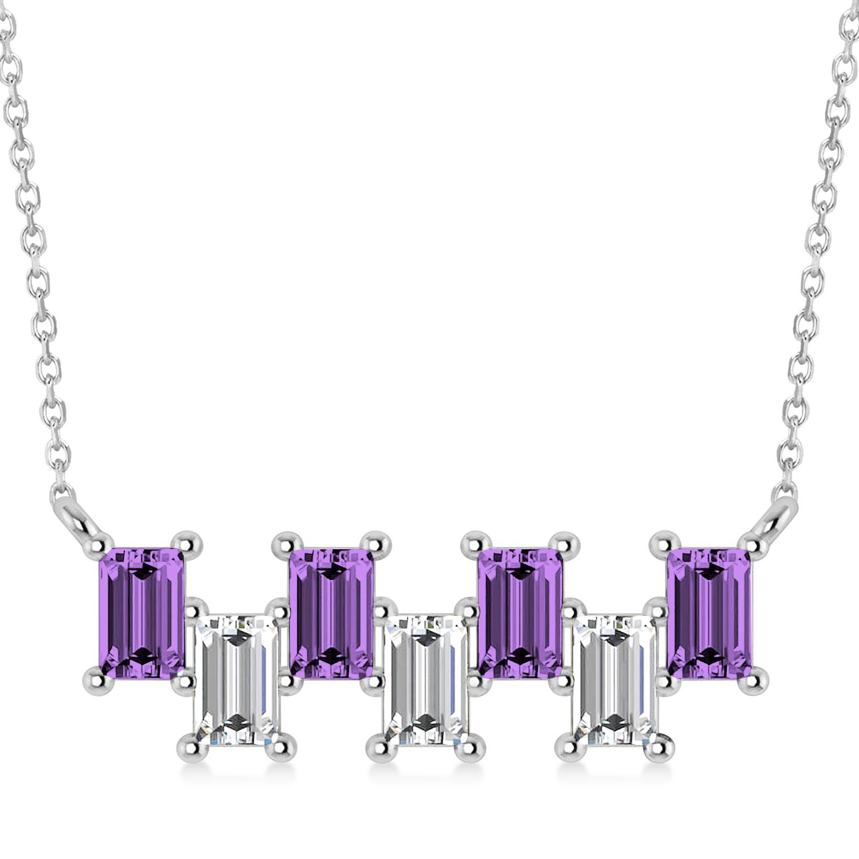 Bar Amethyst & Diamond Baguette Necklace 14k White Gold (2.50ctw)