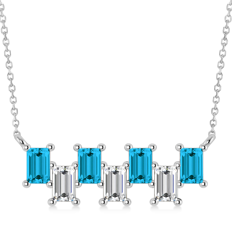 Bar Blue Diamond & Diamond Baguette Necklace 14k White Gold (2.10 ctw)