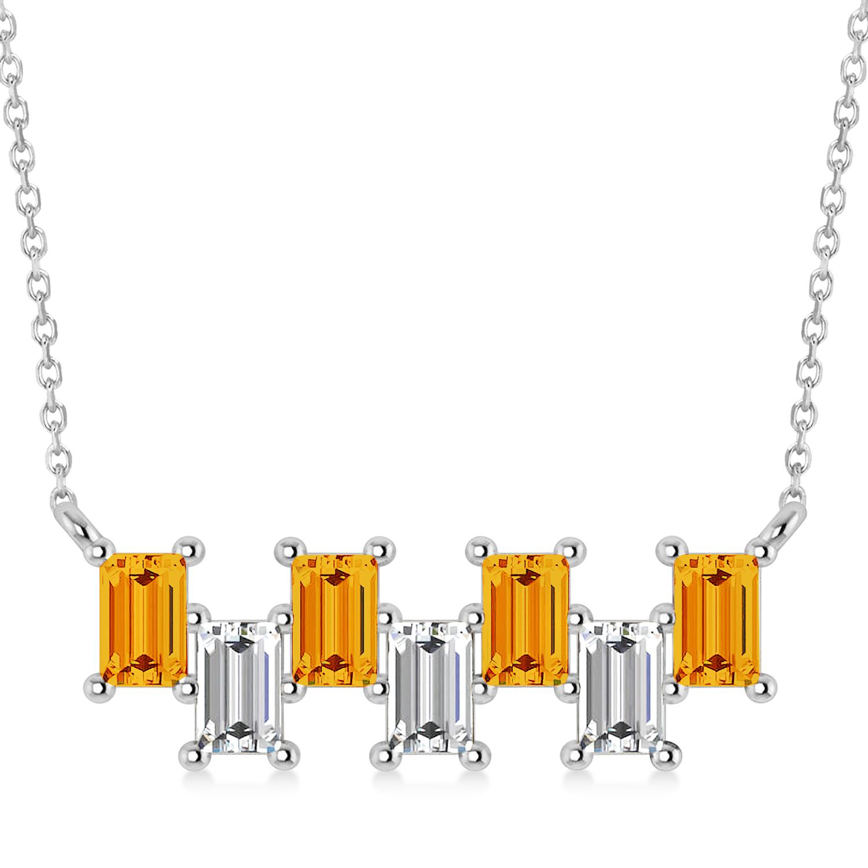Bar Citrine & Diamond Baguette Necklace 14k White Gold (2.30 ctw)
