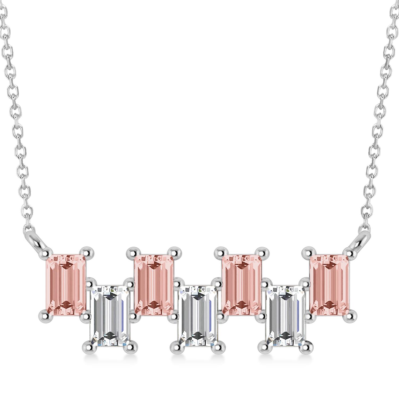 Bar Morganite & Diamond Baguette Necklace 14k White Gold (3.10 ctw)