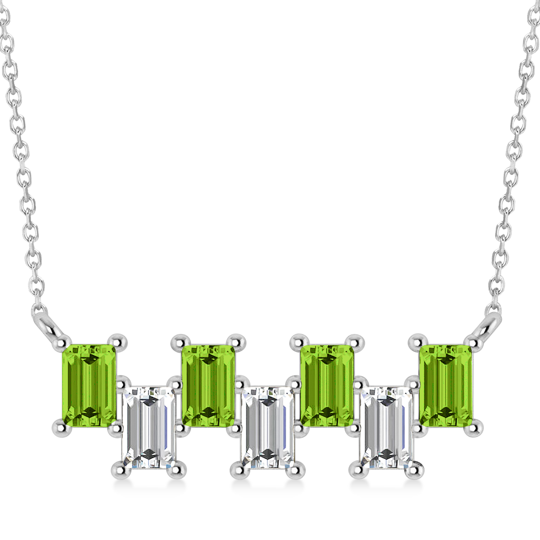 Bar Peridot & Diamond Baguette Necklace 14k White Gold (2.30 ctw)
