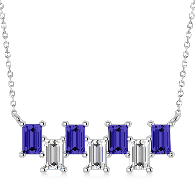 Bar Tanzanite & Diamond Baguette Necklace 14k White Gold (2.42 ctw)