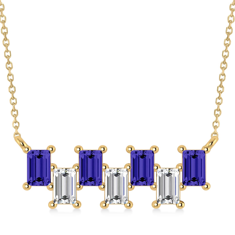 Bar Tanzanite & Diamond Baguette Necklace 14k Yellow Gold (2.42 ctw)