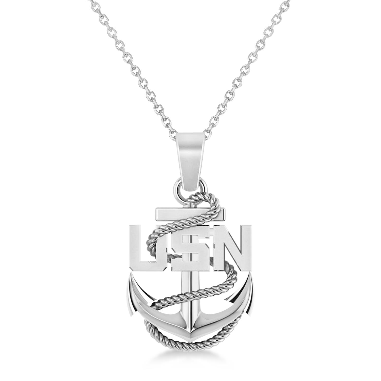 Men's United States Navy Anchor Pendant Necklace 14k White Gold