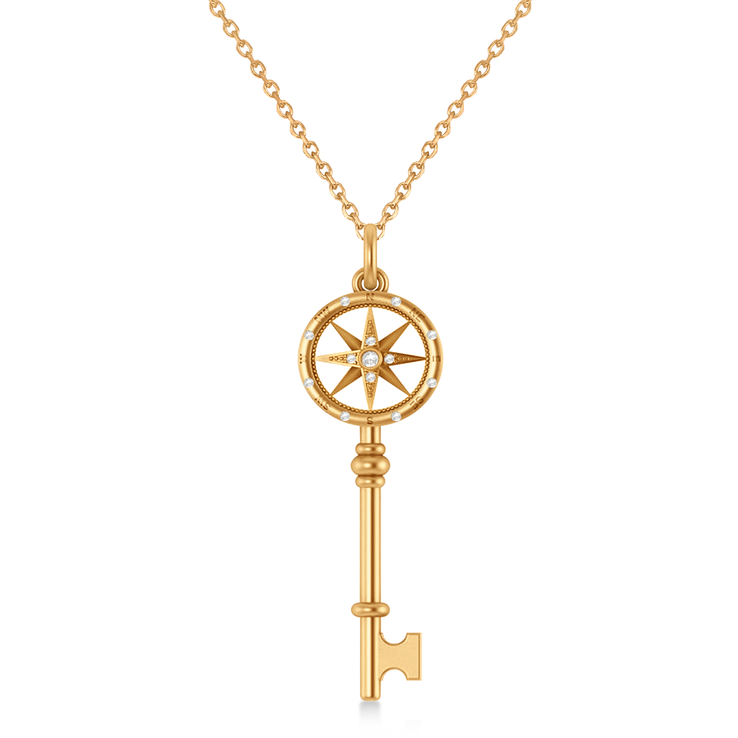 Diamond Compass Key Pendant 14k Rose Gold (0.08 ctw)