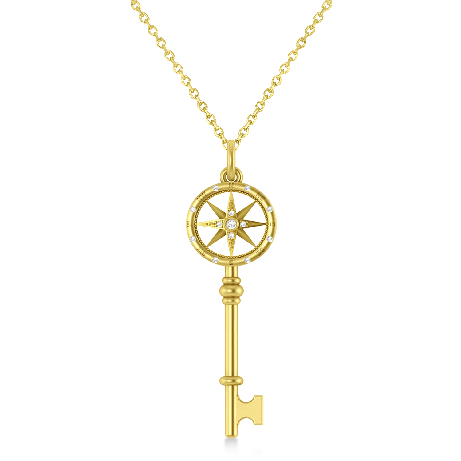 Diamond Compass Key Pendant 14k Yellow Gold (0.08 ctw)