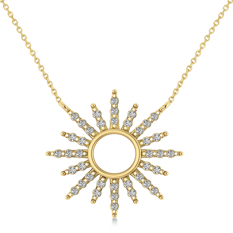 Diamond Sun Pendant Necklace 14k Yellow Gold (0.56ct)