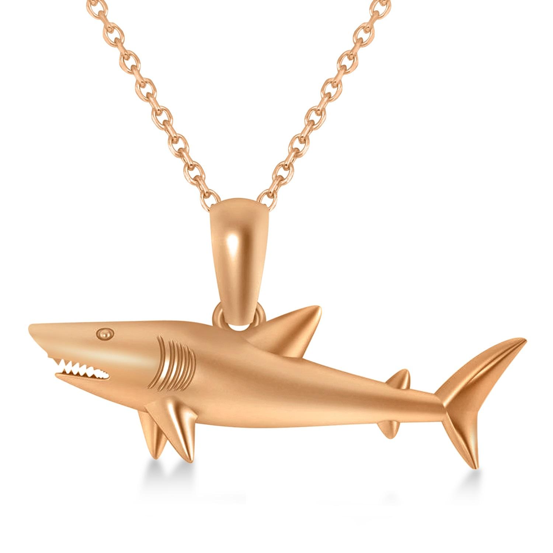 Shark Charm Pendant Necklace 14k Rose Gold