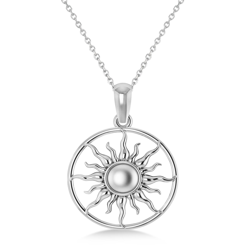 Summertime Sun Circle Pendant Necklace 14k White Gold