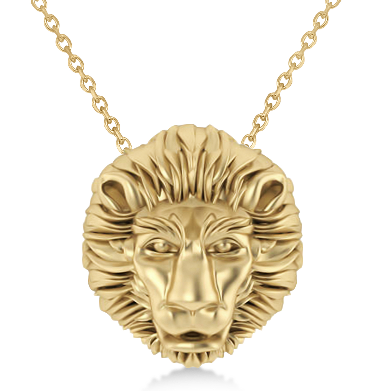 Lion's Head Pendant Necklace 14k Yellow Gold