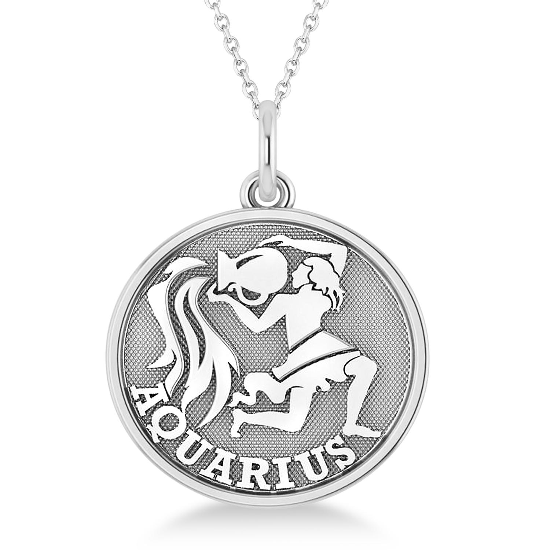 Aquarius Coin Zodiac Pendant Necklace 14k White Gold
