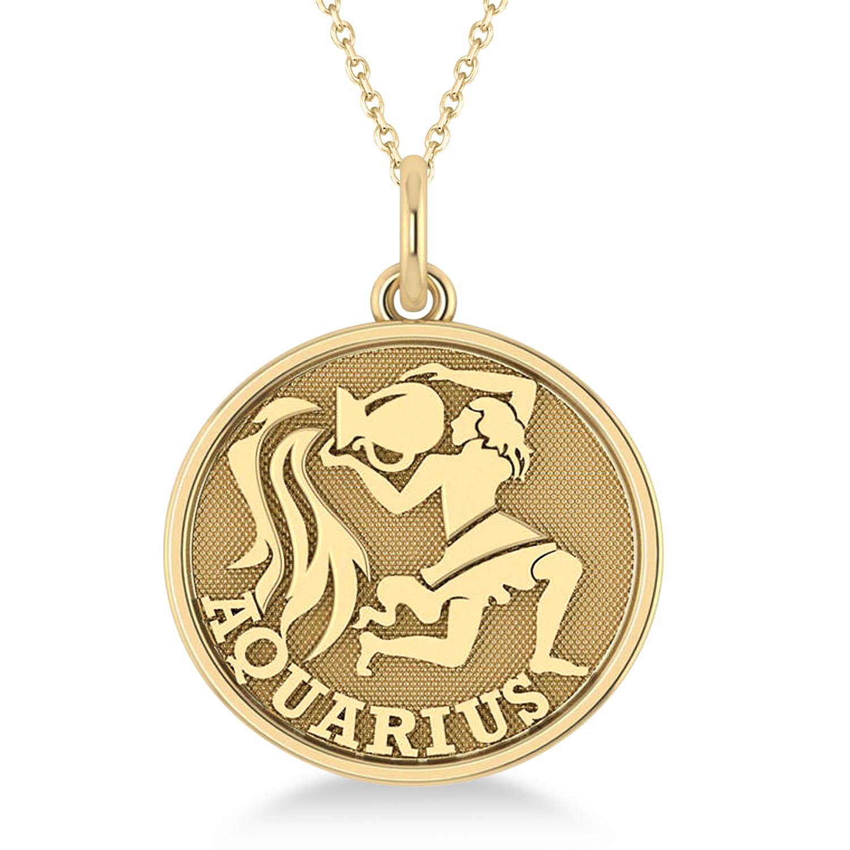 Aquarius Coin Zodiac Pendant Necklace 14k Yellow Gold