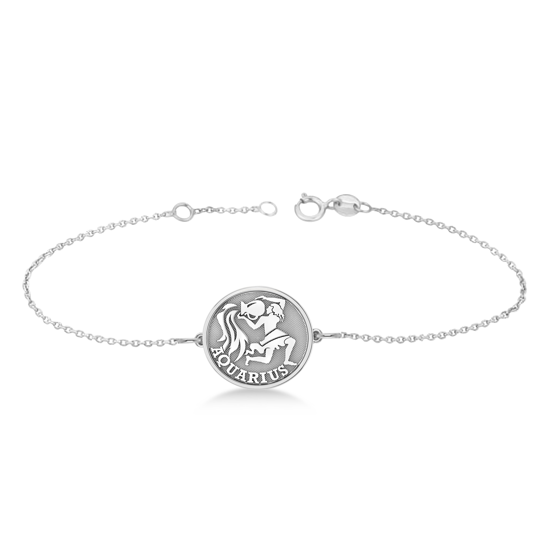 Aquarius Coin Zodiac Bracelet 14k White Gold