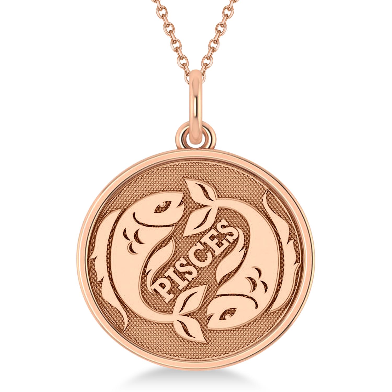 Pisces Coin Zodiac Pendant Necklace 14k Rose Gold