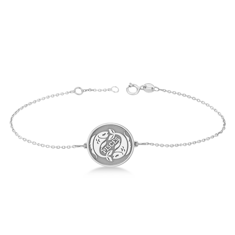 Pisces Coin Zodiac Bracelet 14k White Gold