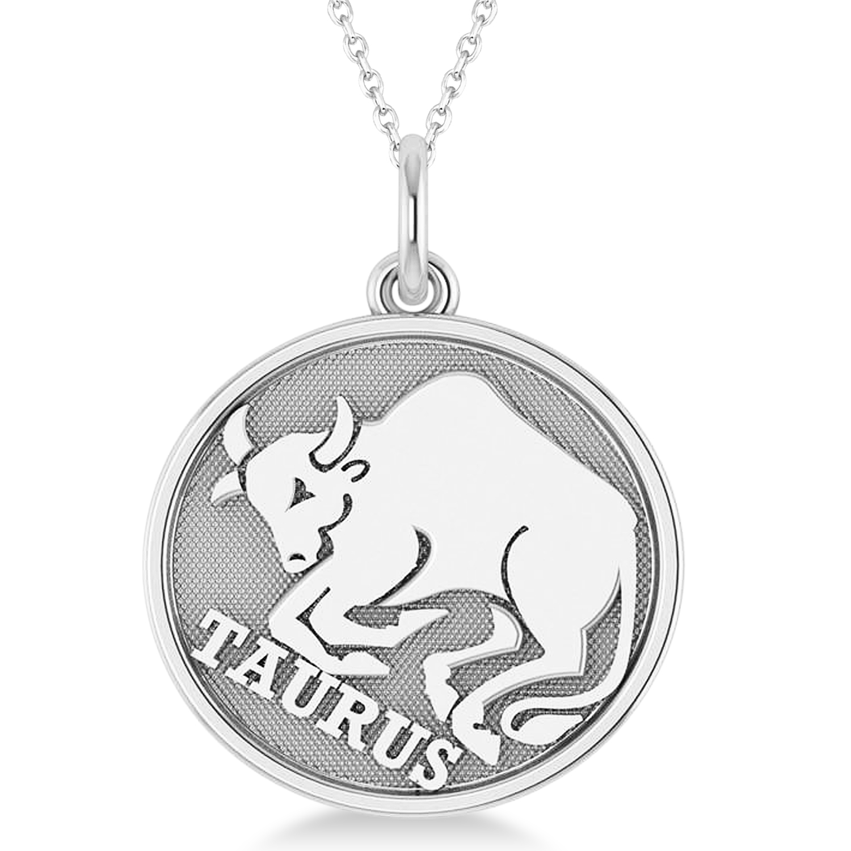 Taurus Coin Zodiac Pendant Necklace 14k White Gold