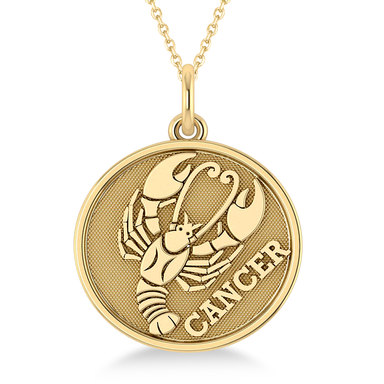Cancer Coin Zodiac Pendant Necklace 14k Yellow Gold