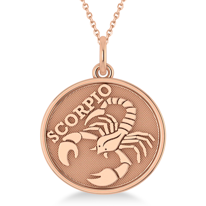 Scorpio Coin Zodiac Pendant Necklace 14k Rose Gold