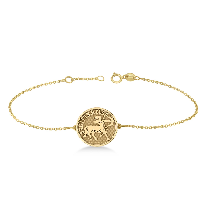 Sagittarius Coin Zodiac Bracelet 14k Yellow Gold