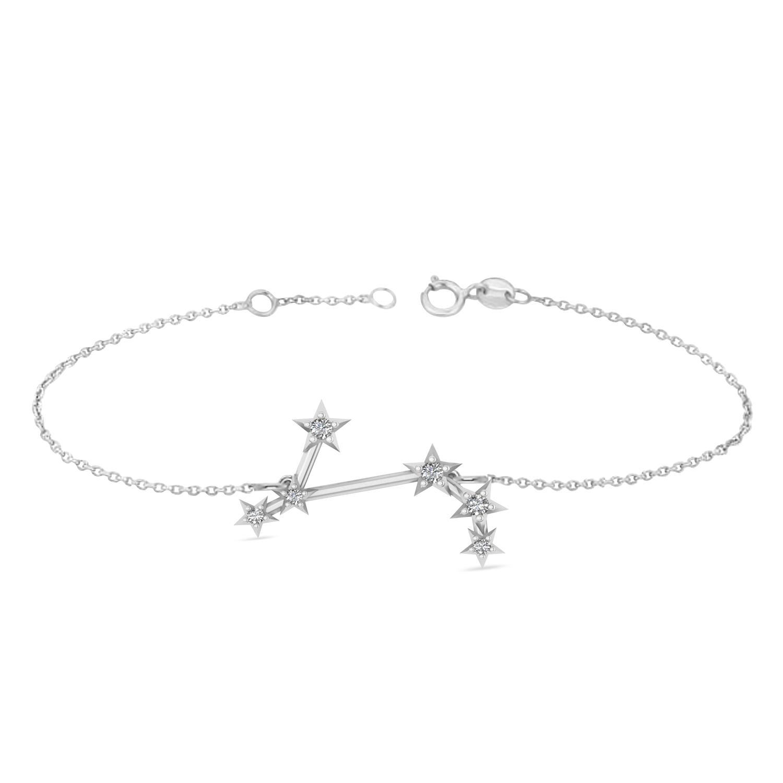 Diamond Aries Zodiac Constellation Star Bracelet 14k White Gold (0.07ct)