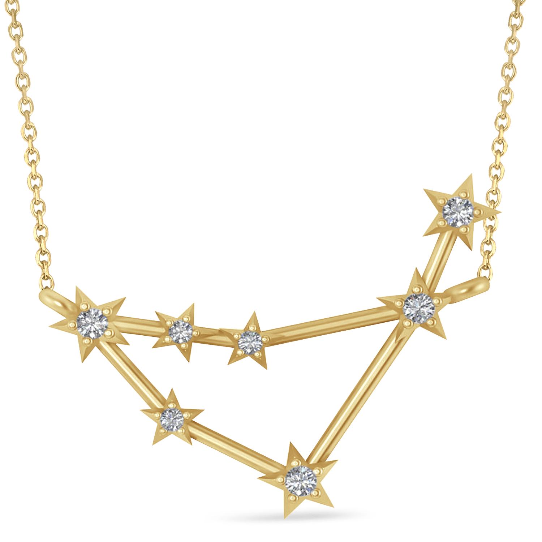Diamond Capricorn Zodiac Constellation Star Necklace 14k Yellow Gold (0.11ct)
