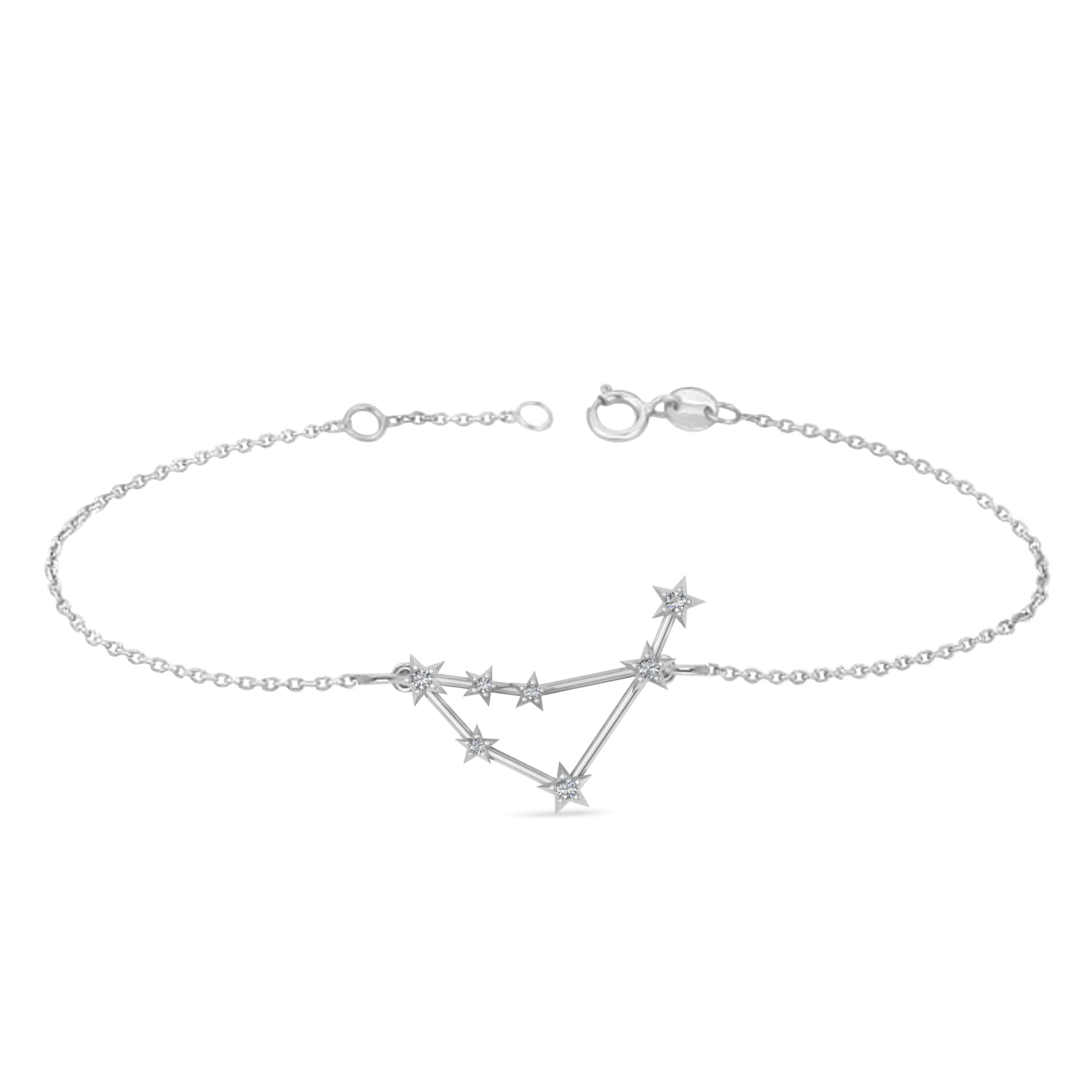 Diamond Capricorn Zodiac Constellation Star Bracelet 14k White Gold (0.11ct)