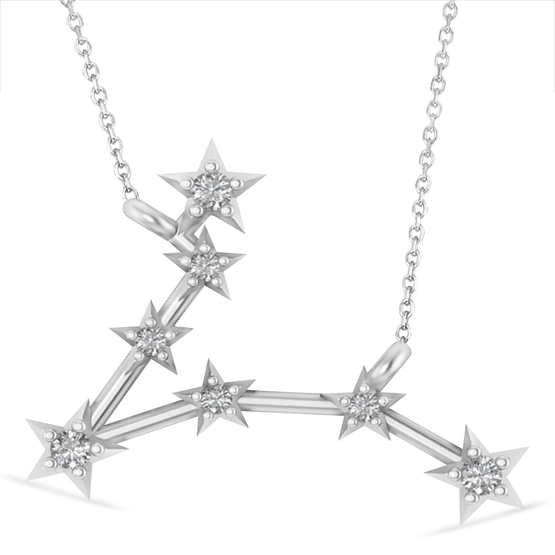 Diamond Pisces Zodiac Constellation Star Necklace 14k White Gold (0.10 ct)