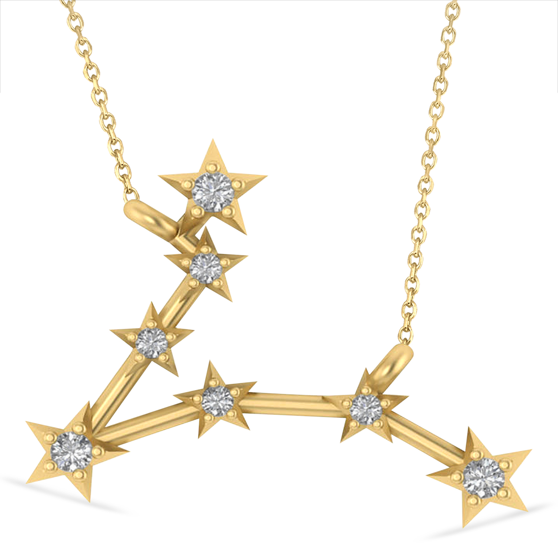 Diamond Pisces Zodiac Constellation Star Necklace 14k Yellow Gold (0.10 ct)