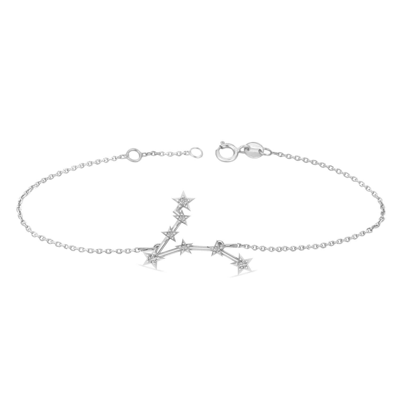 Diamond Pisces Zodiac Constellation Star Bracelet 14k White Gold (0.10 ct)