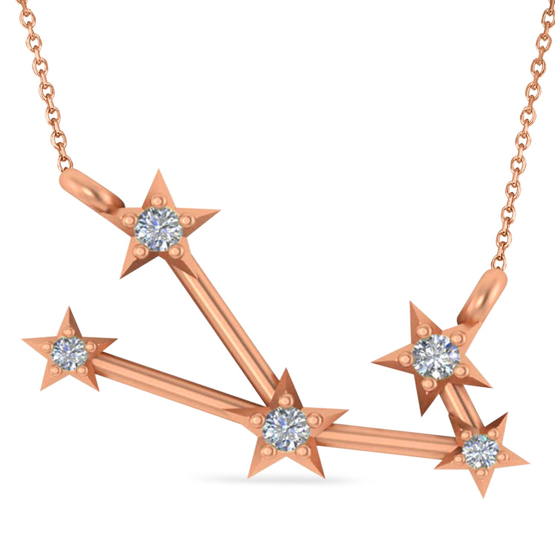 Diamond Taurus Zodiac Constellation Star Necklace 14k Rose Gold (0.07ct)