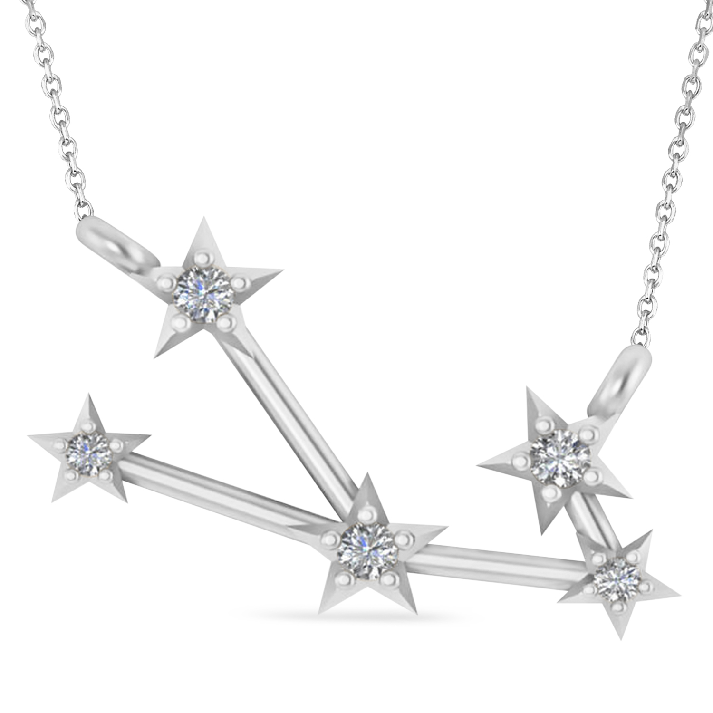 Diamond Taurus Zodiac Constellation Star Necklace 14k White Gold (0.07ct)