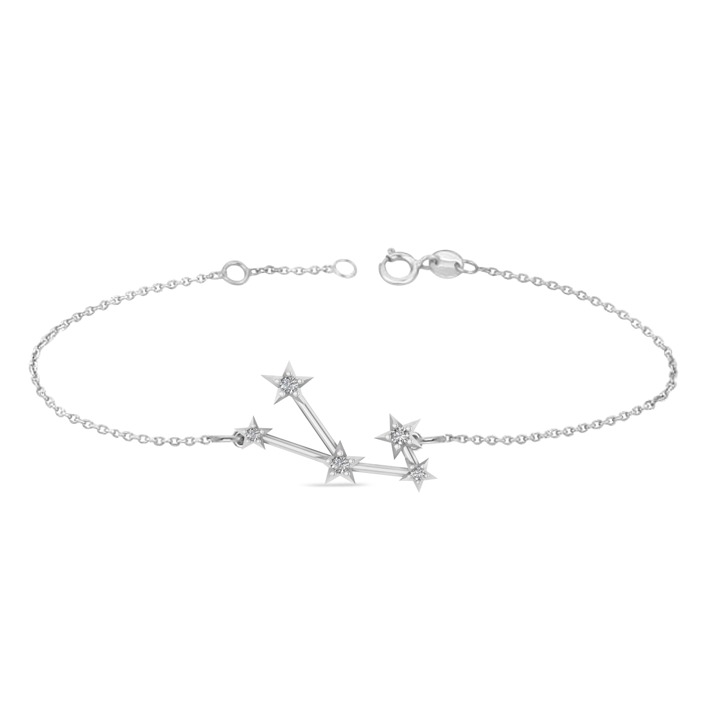 Diamond Taurus Zodiac Constellation Star Bracelet 14k White Gold (0.07ct)