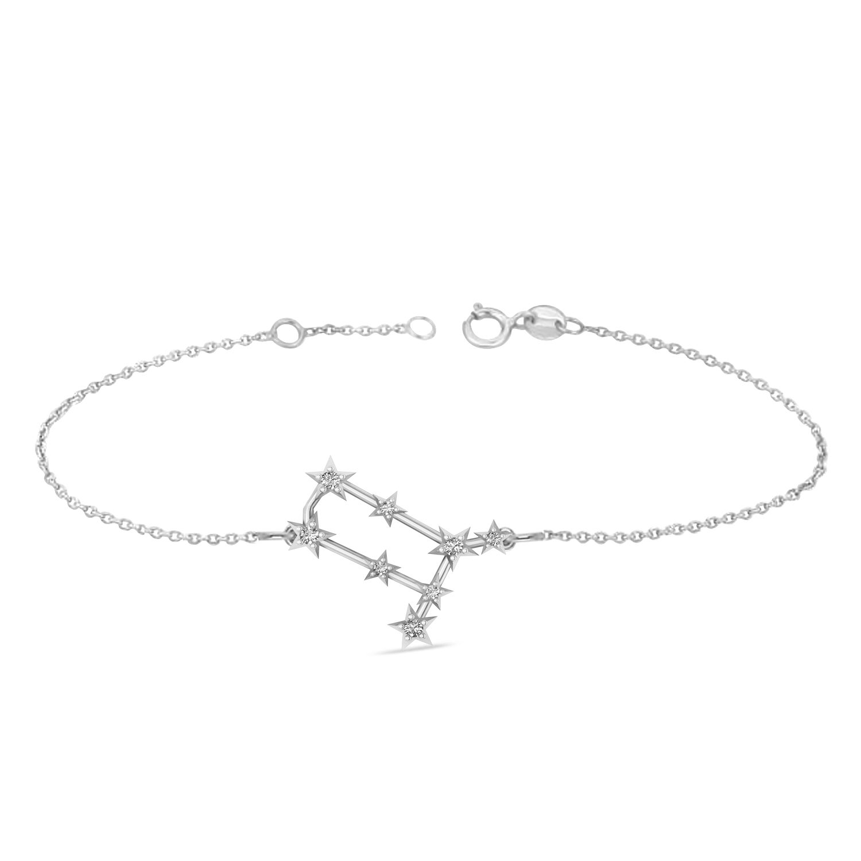 Diamond Gemini Zodiac Constellation Star Bracelet 14k White Gold (0.12ct)
