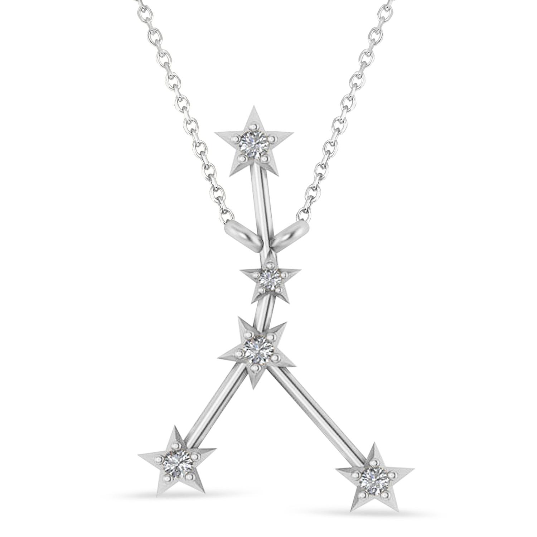 Diamond Cancer Zodiac Constellation Star Necklace 14k White Gold (0.09ct)