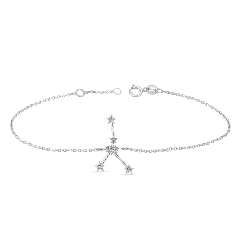 Diamond Cancer Zodiac Constellation Star Bracelet 14k White Gold (0.09ct)