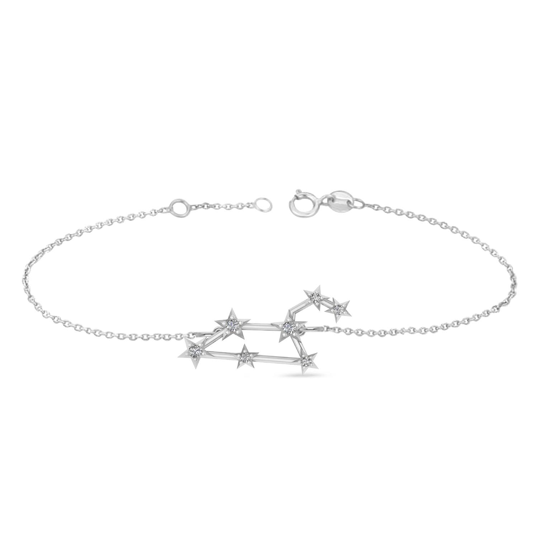 Diamond Leo Zodiac Constellation Star Bracelet 14k White Gold (0.10ct)