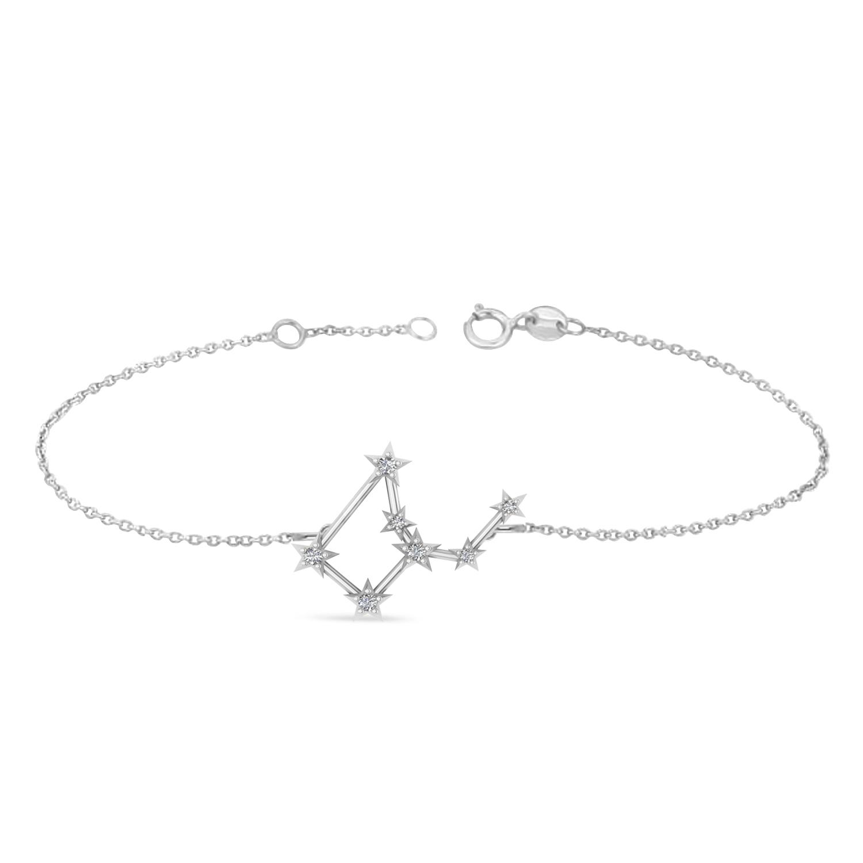 Diamond Virgo Zodiac Constellation Star Bracelet 14k White Gold (0.11ct)