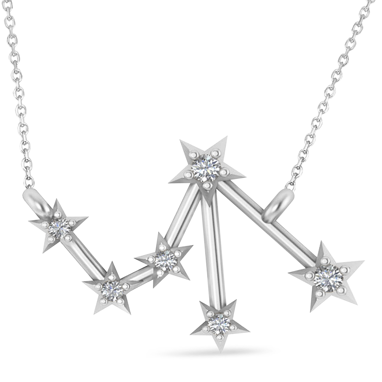 Diamond Libra Zodiac Constellation Star Necklace 14k White Gold (0.08ct)